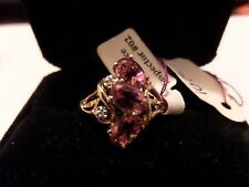 NOS HSN CI 10K YELLOW GOLD RING 2.35 GRAMS CZ & PINK STONES SIZE 10