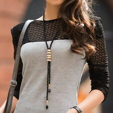 Elegant Women Long Section Glisten Beads Crystal Necklace Fashion Sweater Chain