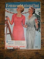Femmes d'aujourd'hui N° 711 1958 Mode vintage  patrons Couture Broderie Robe