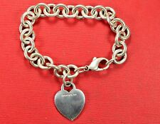 Authentic Vintage Tiffany & Co Sterling Silver 925 Heart Tag Charm Bracelet