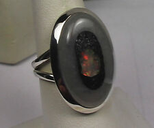 RARE PRECIOUS ROUGH ETHIOPIAN OPAL IN PYRITE CUSTOM MADE RING STERLING SILVER