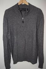 Daniel Bishop Womens 2Ply 100% CASHMERE Cable Knit Gray Tab Zip Mock Sweater XL