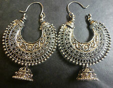 Sale ........ Vintage Antique Silver Tone Ring Chand Bali Indian Jhumka Earrings