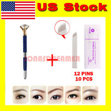 Tattoo Pen Eyebrow Permanent Makeup Lip Rhinestone Microblading Pencil+10xNeedle