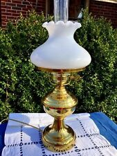 VINTAGE Antique FENTON MILK GLASS Shade Brass Base GONE WITH THE WIND LAMP ❤️