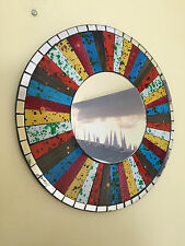 Mosaic Mirror Rainbow Sparkle Round Wall Shabby Chic Bedroom Glass Tiles Crackle
