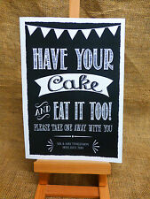 cake cupcakes sign A4 Vintage Chalkboard style PERSONALISED WEDDING engagement