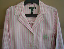 NWT $68 RALPH LAUREN M GIVERNY BRUSHED TWILL COTTON PAJAMAS Pink Stripe 8191114