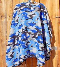 ~New HANDMADE Fleece Poncho  FREE SIZE Plus BLUE CAMOUFLAGE   Spring