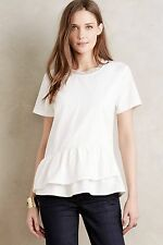 NWT Anthropologie Tiered Peplum Top by HD in Paris sz L Adorable Versatile RARE
