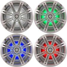 """4-Speakers Kicker 6.5"""" 195W Marine Audio Coaxial Color LED Lights Silver Grills"""