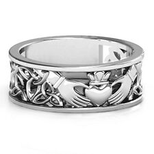 6mm Sterling Silver Men's Celtic Claddagh Wedding Band Ring - Free Sizing