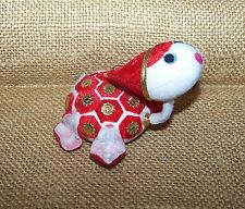 """Vintage Sea Turtle Christmas Ornament 3.5"""" Made in Japan White Red Gold Flocked"""