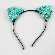 Fancy Dress Costume Black Flower Cat Ears Headband Festival Halloween Devil