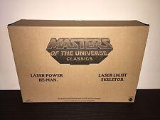 MOTU CLASSICS LASER POWER HE-MAN & LASER LIGHT SKELETOR HOLIDAY 2-PACK !!!
