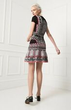 NEW TEMPERLEY LONDON Alice Black Fit Flare Knit Jacquard Stretch Dress XS!