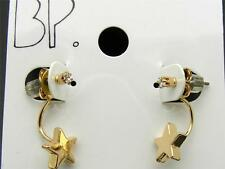 $8 BP Goldtone Star Rhinestone Curved Post Earrings Studs Front/Back Ear Jackets