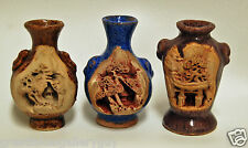 Vintage Lot of 3 Japanese Banko Ware Intricate Carved Pottery Miniature  Vases
