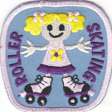 """""""ROLLER SKATING"""" PATCH- Iron On Embroidered Patch - Skates, Sports, Words"""