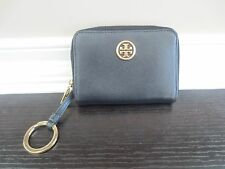 Tory Burch Robinson Zip Coin Case with key ring - Black Leather