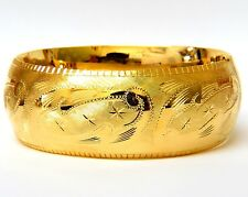 BANGLE BRACELET 14KT GRAVER ETCHED GILT ARTISTIC DETAIL BUTTON SNAP CLOSURE