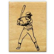 BATTER Baseball player Mounted rubber stamp, softball