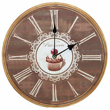Patisserie Cupcake Design Kitchen Art Rustic Prints Decorative Wall Clock 13""