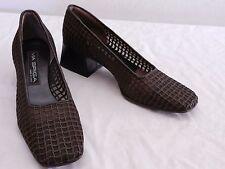 NICE Vintage Womens 10 M VIA SPIGA Brown Textile Patterned Pumps Heels ITALY