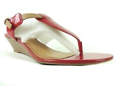 Nine West Women's Helm Wedge Thong Sandals Red/Natural Size 9.5 (B, M)
