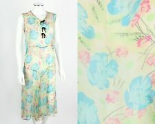 VTG 1920s LIGHT YELLOW MULTICOLOR FLORAL SILK GEORGETTE SLEEVELESS FLAPPER DRESS