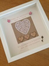 ��First Anniversary Gift Frame - Paper Heart -Mulberry Paper Roses - Wedding