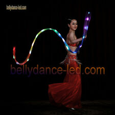 USA new! LED poi silk veil rainbow band real silk Rhythmic gymnastics