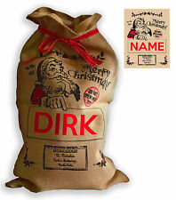 "Personalised Hessian "" Merry Christmas "" Santa Christmas Present Sack"
