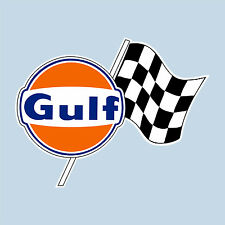 "GULF CHECKERED FLAG LOGO STICKER 100 mm 4"" WIDE DECAL - OFFICIALLY LICENSED"