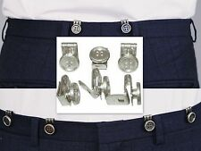CLIP ON BUTTONS LEATHER END BRACES VICTORIAN WW1 WW2 COSTUME FANCY DRESS NO SEW