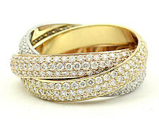 CARTIER PAVE DIAMOND TRINITY DE CARTIER ROLLING RING WITH BOX