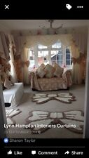DESIGNER CURTAINS SWAGS AND IVORY AND BEIGE/MINK FULLY LINED