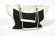 Tory Burch Fleming Quilted Black White Leather Womens Tote Shopper Bag TB logo