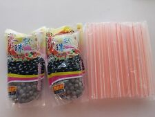 2 packs BOBA Black Tapioca Pearl Bubble~ 1 pack of 48pc BOBA STRAW FREE SHIPPING