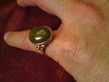 Antique Continental silver gilt cabochon cut gemstone ring Jade ?? marked 925S