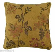 """FILLED TOBAGO WOVEN CHENILLE GOLD TERRACOTTA THICK BRAIDED CUSHION 18"""" - P95"""