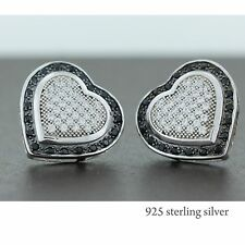 925 Sterling Silver Pave heart fancy earring studs hip hop 14MM