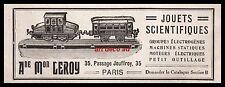 PUBLICITE  JOUETS SCIENTIFIQUES  TRAIN ELECTRIQUE  LOCO   OLD TOY  AD  1909