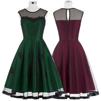 Women Vintage Hepburn 50s 60s Party Casual Dress Pinup Flared Swing Short Dress