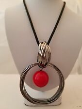 Black Mesh 27 Inch Necklace With Gun Metal Ring Pendant With Red Pearl Insert