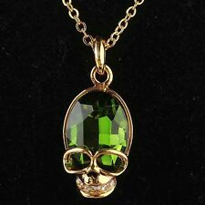 Hot 14k Gold Plated Austrian Crystal Skull Emerald Pendant Chain Necklace ND0572