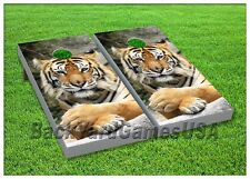 CORNHOLE BEANBAG TOSS GAME w Bags 24x48 Bengal Tiger Top Quality 0004