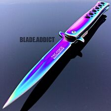 """9"""" TAC FORCE Titanium Milano Stiletto Tactical Spring Assisted Pocket Knife EDC"""