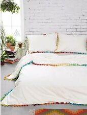 NEW Urban Outfitters Magical Thinking white multi color Pom Fringe Duvet Twin XL