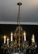 Antique 70s brass crystal glass pineapple ceiling chandelier light fixture Spain